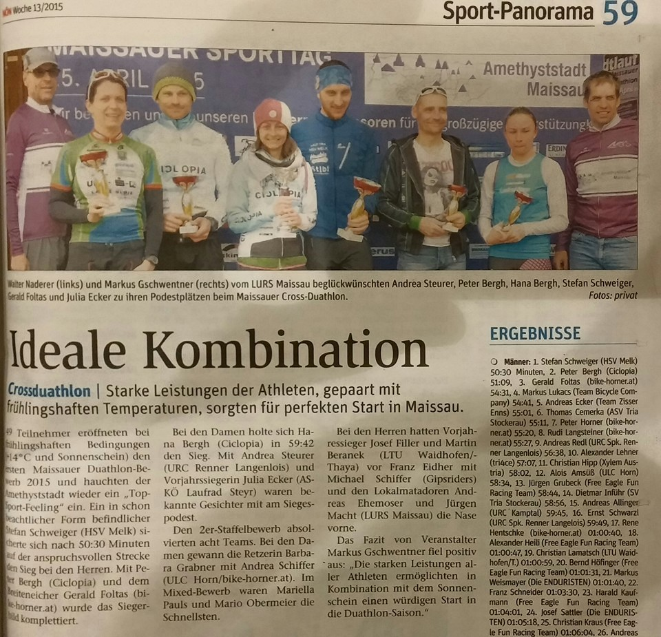 artikel zum cross-duathlon in der NÖN
